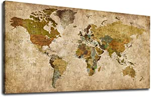 "Vintage World Map Canvas Wall Art Picture Antiqued Map of The World Canvas Painting Artwork Prints for Office Wall Decor Home Living Room Decorations Framed Ready to Hang 20"" x 40"""