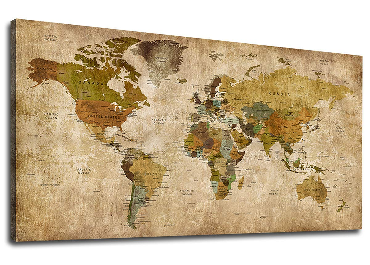 """Vintage World Map Canvas Wall Art Picture Large Antiqued Map of The World Canvas Painting Artwork Prints for Office Wall Decor Home Living Room Decorations Framed Ready to Hang 24"""" x 48"""""""