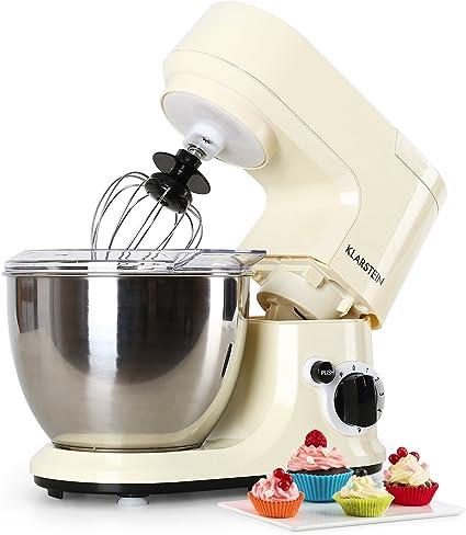 Klarstein - Carina Morena, Robot de cocina, Batidora, Amasadora, 800 W, 4 L, Batido planetario, 6 niveles de ...