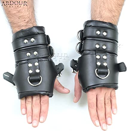 HEAVY DUTY REAL LEATHER BONDAGE WRIST ANKLE SUSPENSION CUFFS