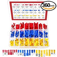 Hilitchi 360 Pcs Assorted Insulated Electrical Electrical Wire Terminals Crimp Connectors Spade Set