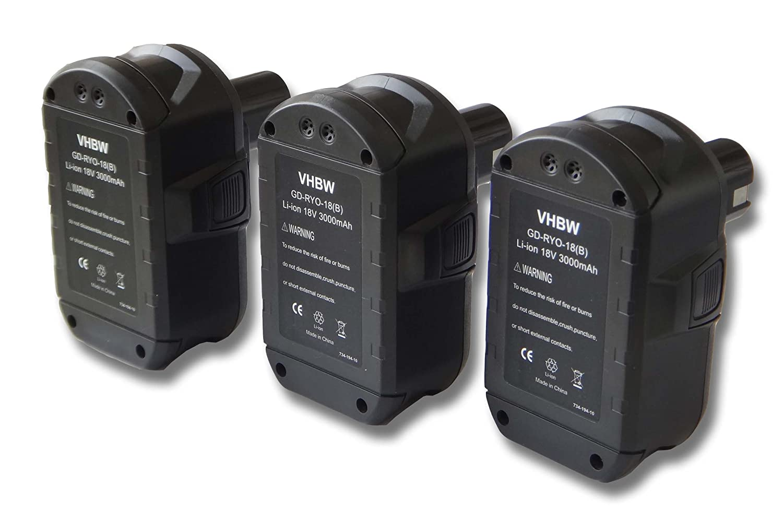 vhbw Sparset 3x Li-Ion Akku 3000mAh (18V) für Werkzeuge Ryobi Ryobi Baustellen Radio CDR180, CDR180M, R18I-0 Akku Kompressor.
