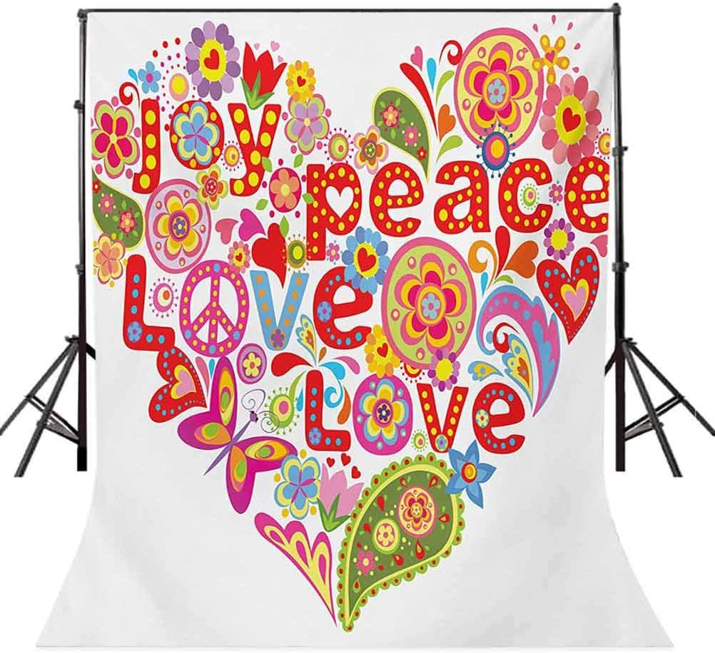Print with Colorful Hippie Style Floral Heart Spring Happiness Joy Wish Hope Message Background for Baby Birthday Party Wedding Vinyl Studio Props Photography Groovy 8x10 FT Photography Backdrop