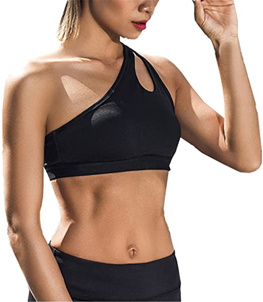 63016a1431d46 Image Unavailable. Image not available for. Color  NEW Sexy One Shoulder  Solid Sports Bra Women Fitness Yoga Bras Gym ...