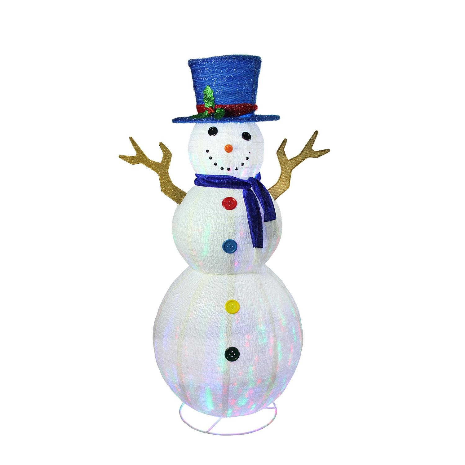 72'' Pre-Lit LED Multi-Color Embossed Snowman with Top Hat Outdoor Christmas Yard Art Decoration