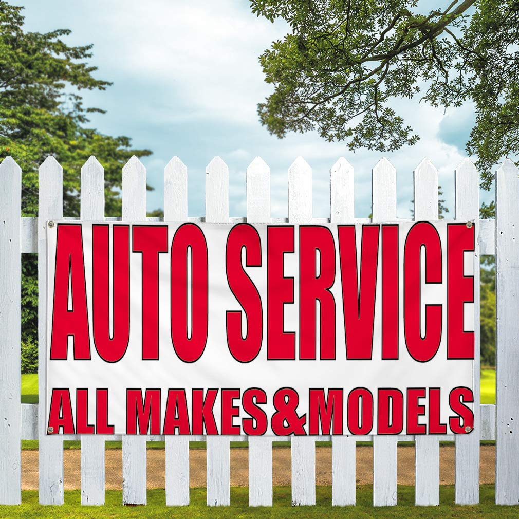 32inx80in Multiple Sizes Available Set of 2 Vinyl Banner Sign Auto Service All Makes /& Models Automotive Marketing Advertising White 6 Grommets