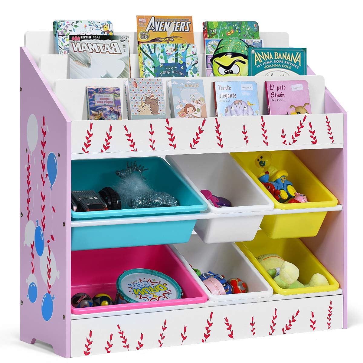 Costzon Kids Toy Storage Organizer & Bookshelf, Children Bookshelf with 6 Multiple Color Removable Bins Shelf Drawer & 3 Shelf Sleeves, Ideal for Kids Room, Playroom and Class Room (Pink) by Costzon