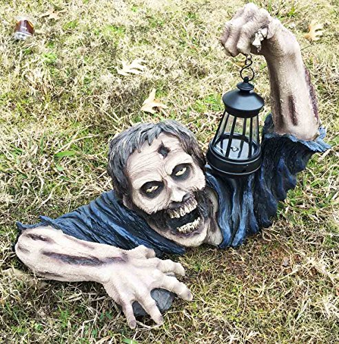 (Ebros Large Head Shot Zombie Crawling Out Of Grave Solar LED Lantern Figurine