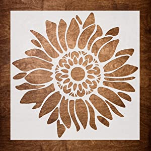 DLY LIFESTYLE Boho Sunflower Stencil for Painting on Wood, Canvas, Paper, Fabric, Walls and Furniture - Sunflower Stencil - 7x7 Inches - Reusable DIY Art and Craft Stencils - Flower Stencil