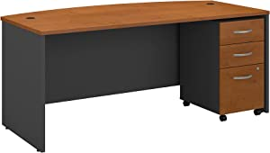 Bush Business Furniture Series C 72W x 36D Bow Front Desk with Mobile File Cabinet in Natural Cherry