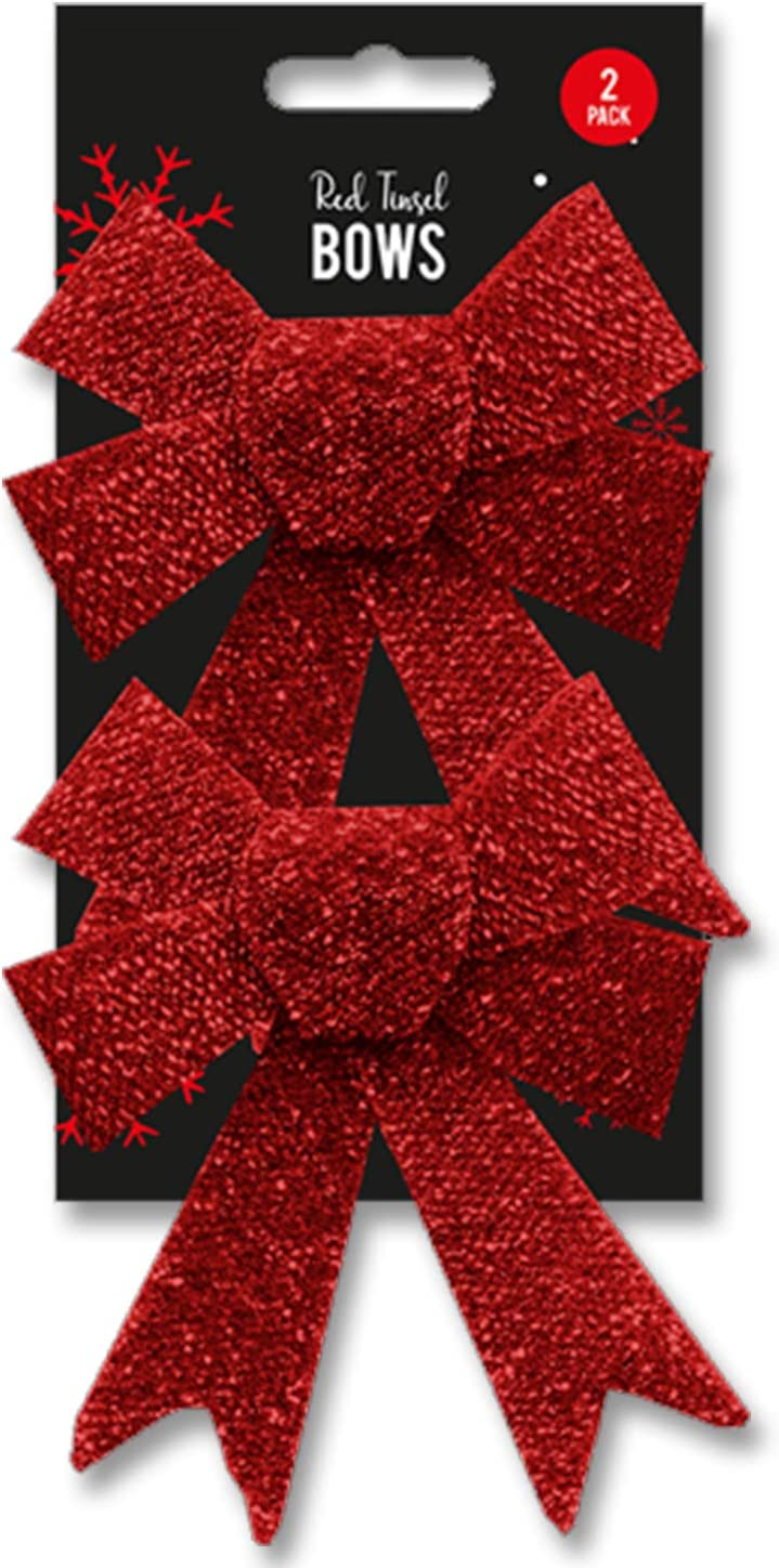 Lizzy Large Glitter Tinsel Bows Red Christmas Ribbon Bows Ornaments Xmas Tree Decoration Presents Wrapping Craft Supplies Christmas Accessories 2 Pack of Christmas Bows
