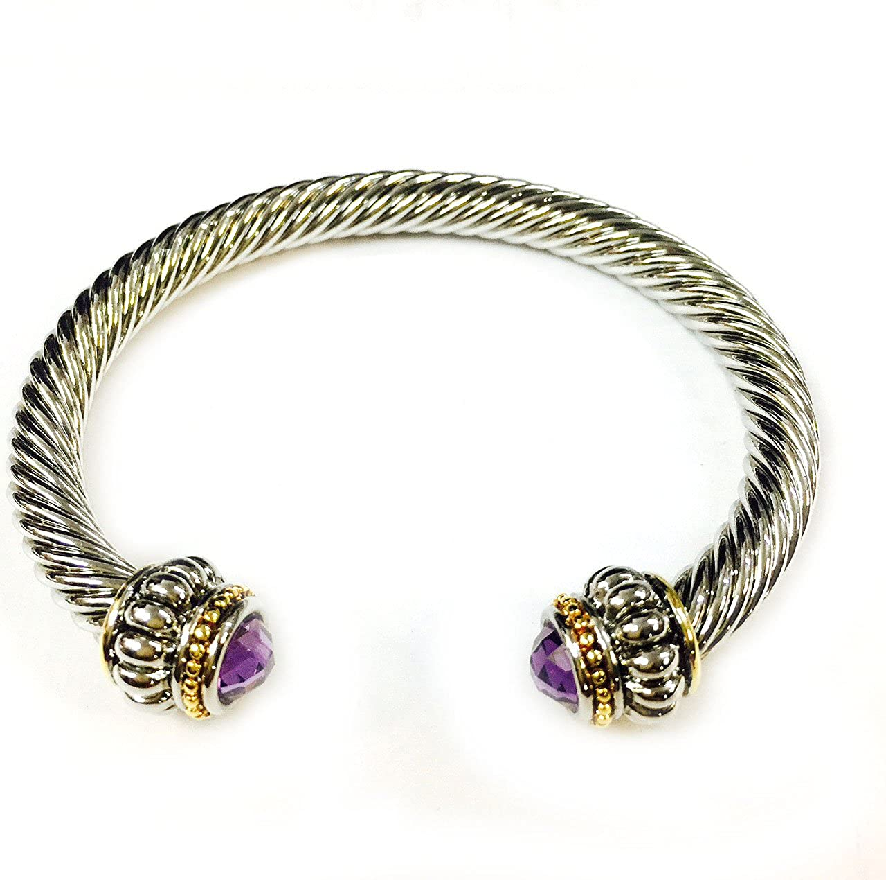T J Magic Two Tone 7mm Rope Twist Wire Rhodium Plated Bangle Bracelet with Amethyst Cubic Zirconia Crystal Stone