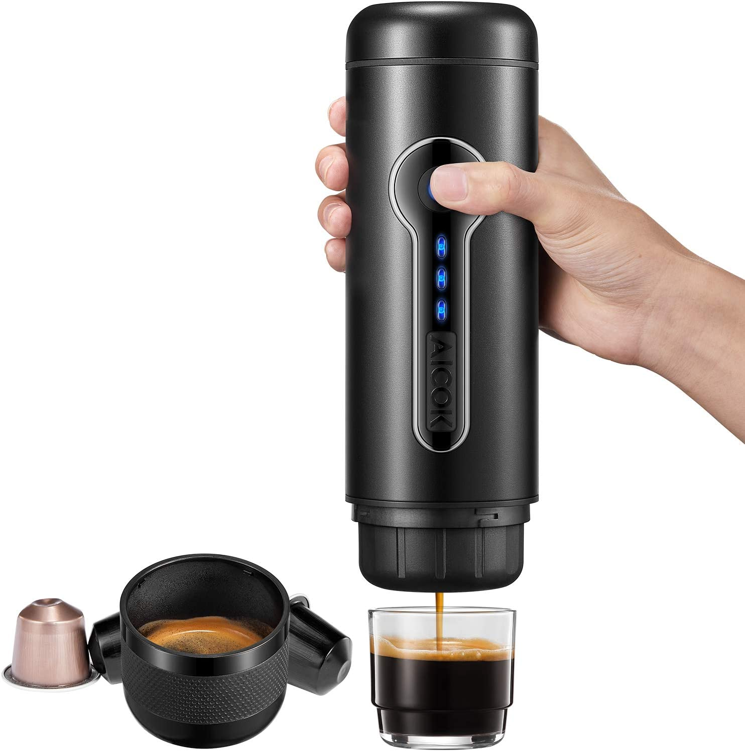 Aicok Portable Espresso Machine, 18 Bar Travel Coffee Maker, Electric Mini Espresso Maker wih Heating Function, One Touch Operation, Self-Cleaning, BPA-Free, Perfect for Camping, Travel and Office