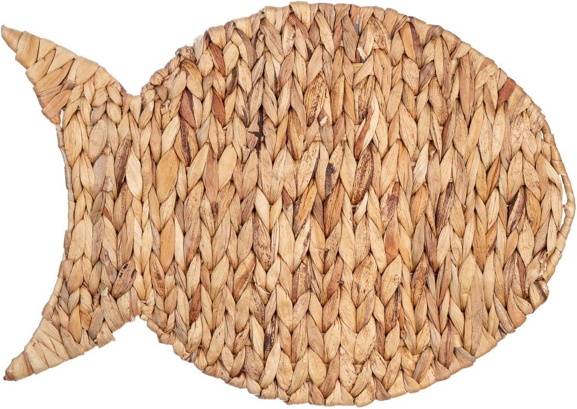 Nautical Decor | Water Hyacinth Fish Wall Decor 11.8inx17.3in | Nautical Bathroom Decor | Ocean Wall Decor | Coastal Placemats | Beach Kitchen Decor | Fish Bathroom Decor For Sea Themed Bathroom Decor