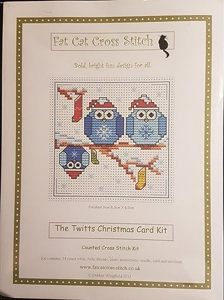 Fat Cat Kit de tarjeta de punto de cruz-los twitts Navidad
