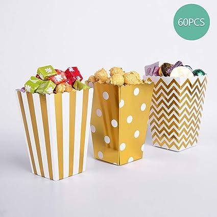 Bolsas de palomitas de maíz, 60 cajas de palomitas de maíz doradas de cartón para