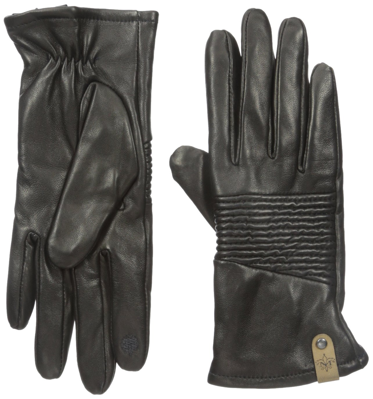 Mackage Women's Nira Leather Touchscreen Glove with Ribbed Detail, Black, Large