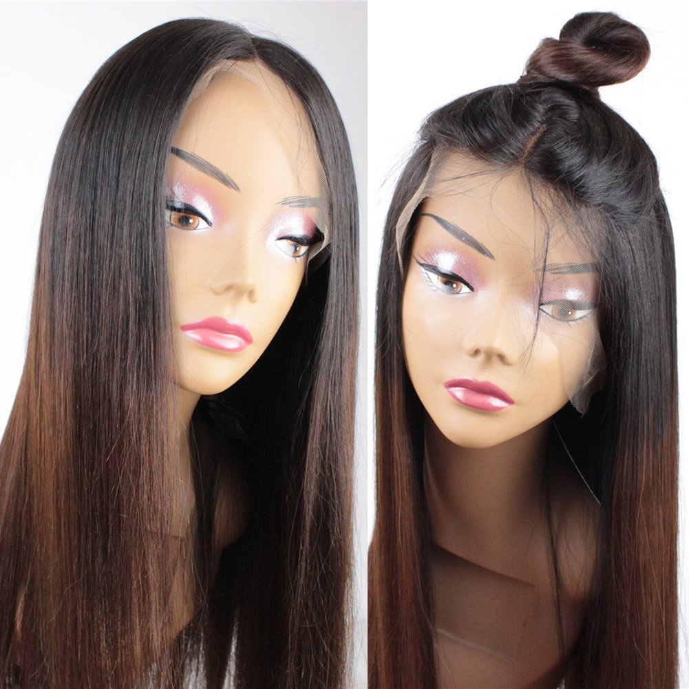 ZANA Glueless Brazilian Hair Wigs with Baby Hair Silky Straight Human Hair Lace Front Wigs for Women Two Tone Color