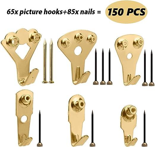 5 Pack de 4 broches en plastique dur Mur Photo Hook Cadre Miroir Nail fixations suspendus