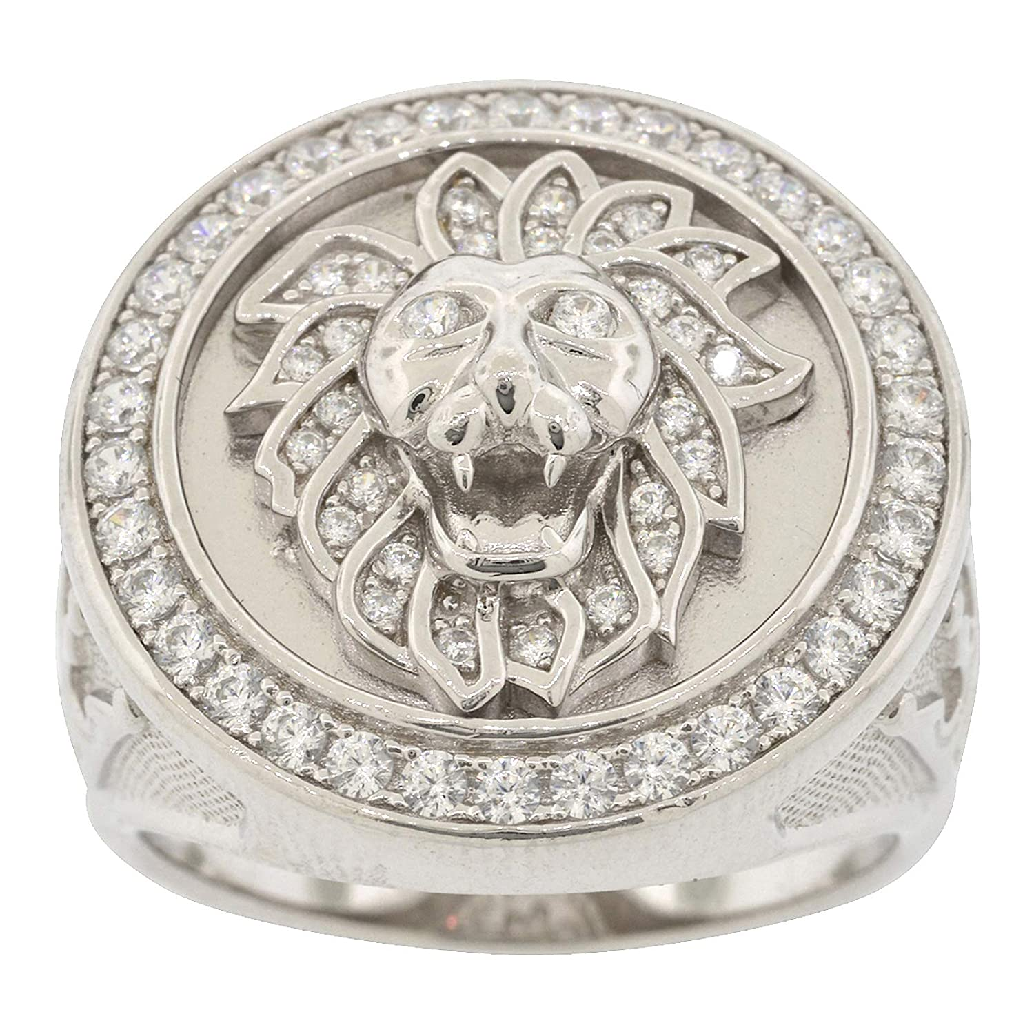 Mens Rhodium-Plated Sterling Silver Round Cut Cubic Zirconia Lion Crown King Ring Size 11
