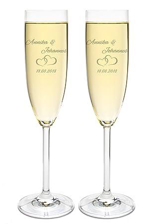 Leonardo 2 Sektgläser mit Gravur des Namens zur Hochzeit Motiv Paar  Sekt-Glas graviert Geschenkidee