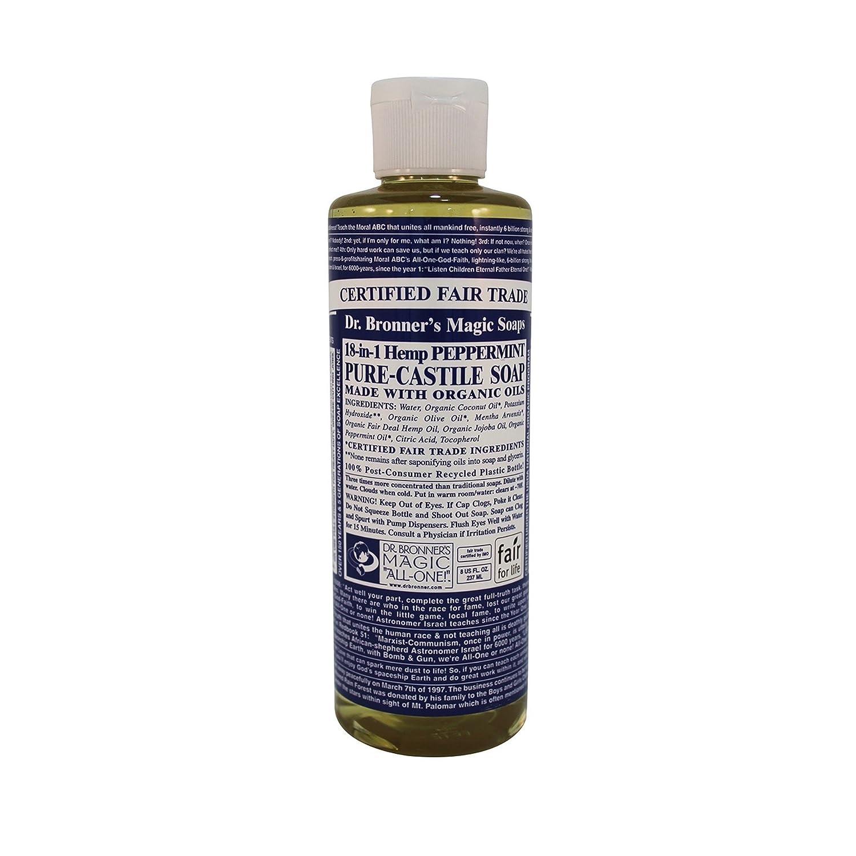 Dr. Bronner's Magic Soap Organic Peppermint Oil Pure Castile Soap Liquid, 8-Ounce Dr. Bronner's Magic Soap