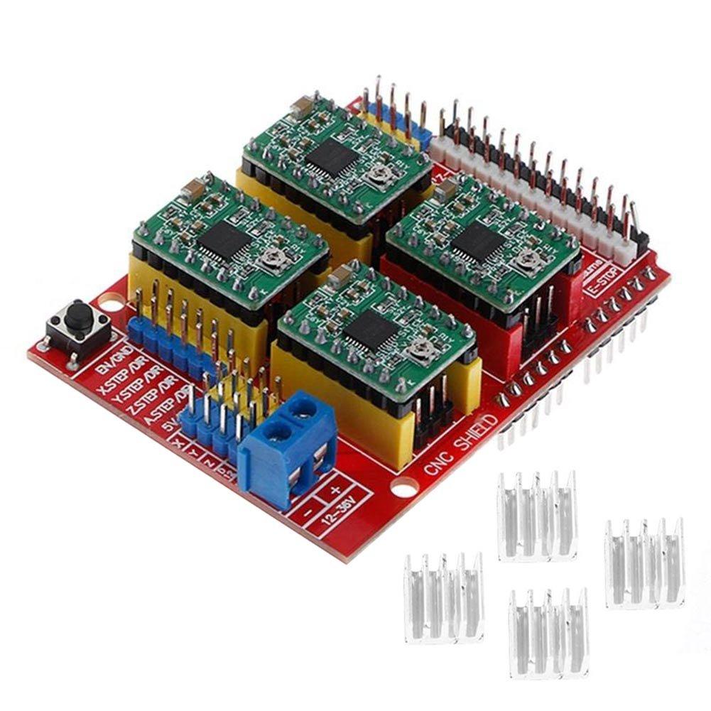 Hrph New CNC Shield V3 Engraving Machine / 3D Printer / + 4 Pcs A4988 Driver Expansion Board for Arduino 105756