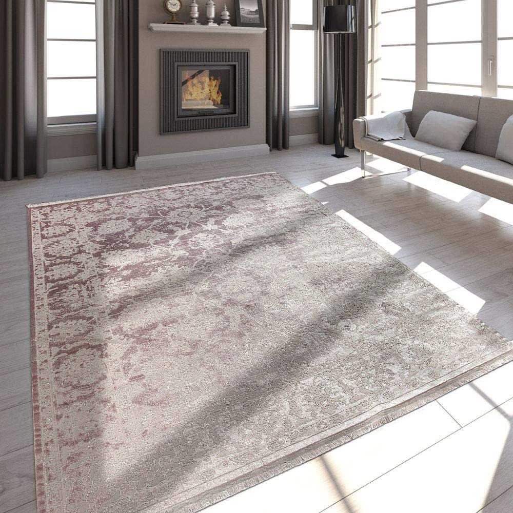 Paco Home Hochwertiger Wohnzimmer Teppich Moderne Satin Optik Barock Design Fransen Rosa, Grösse 200x290 cm