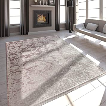 Paco Home Hochwertiger Wohnzimmer Teppich Moderne Satin Optik Barock Design  Fransen Rosa, Grösse:200x290 cm
