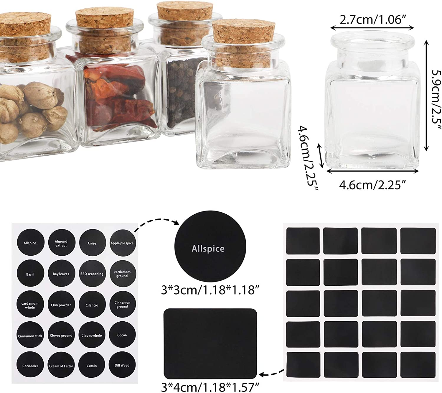2oz Reusable Spice Bottles Glass Containers with Cork 1pcs Test Tube Brush for Storing Tea Herbs and Spices CUCUMI 24pcs 60ml Glass Spice Jars Chalk Marker 120pcs Waterproof Preprinted Stickers