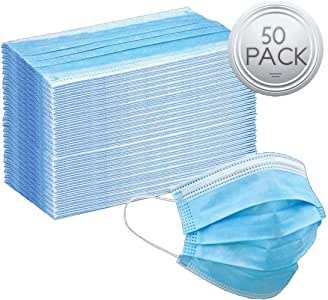 Protective Mouth Cover Face Mask Multi Layer Breathable Disposable for Individual and Family Use for Indoor Outdoor Home Office Travel (50 Pack)