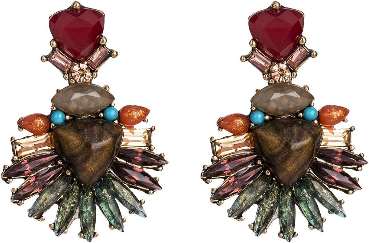 BJINUIY Aretes en Forma de Abanico de Turquesa con Tachuelas de aleación, Color Bohemio Grande de Moda Femenina