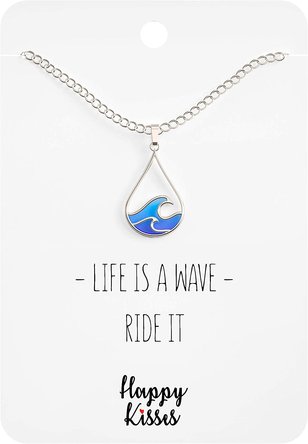 Ocean Wave Necklace – Cute Drop Shape Pendant for Surfer, Sea Lover, Hawaiian or Beach Enthusiast - Blue Wave Jewelry is a Great Gift for any Woman