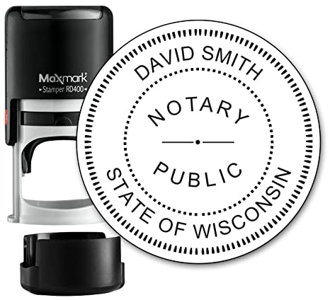 Round Notary Stamp For State Of Wisconsin Self Inking