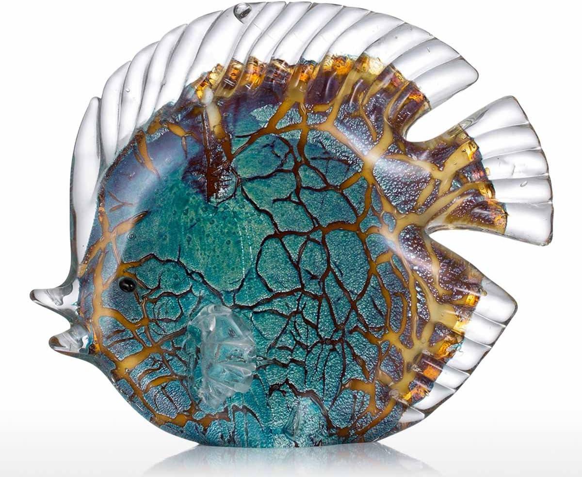Tooarts Adornos de vidrio de esculturas de peces para la decoración del hogar, oficinas modernas e interiores coloridos regalos de peces tropicales manchados Tipo 1