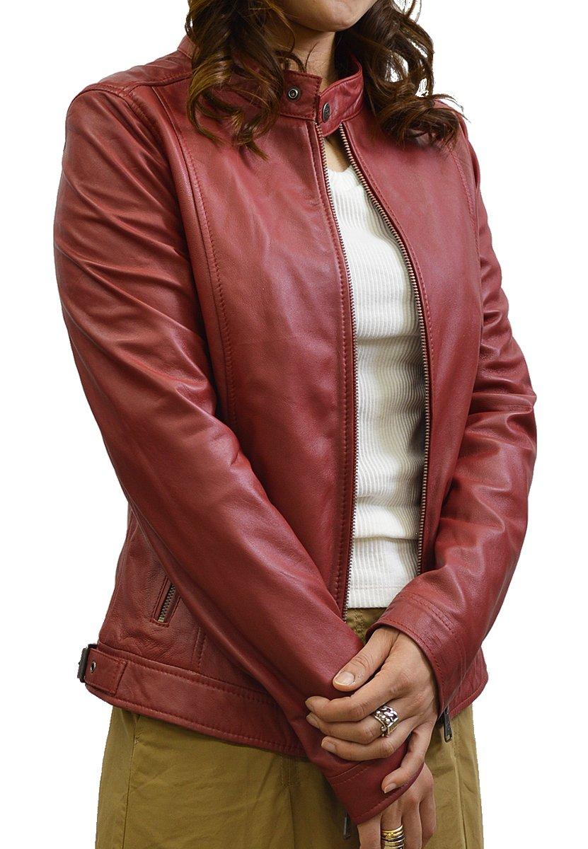 ライダースジャケット 革ジャン レザージャケット シングルライダース レディース 本革 ラムレザー 赤 スタンドカラー S-LL ブラック ダークブラウン レッド グレイベージュ グレイ キャメル B0761P85BK LL|レッド レッド LL
