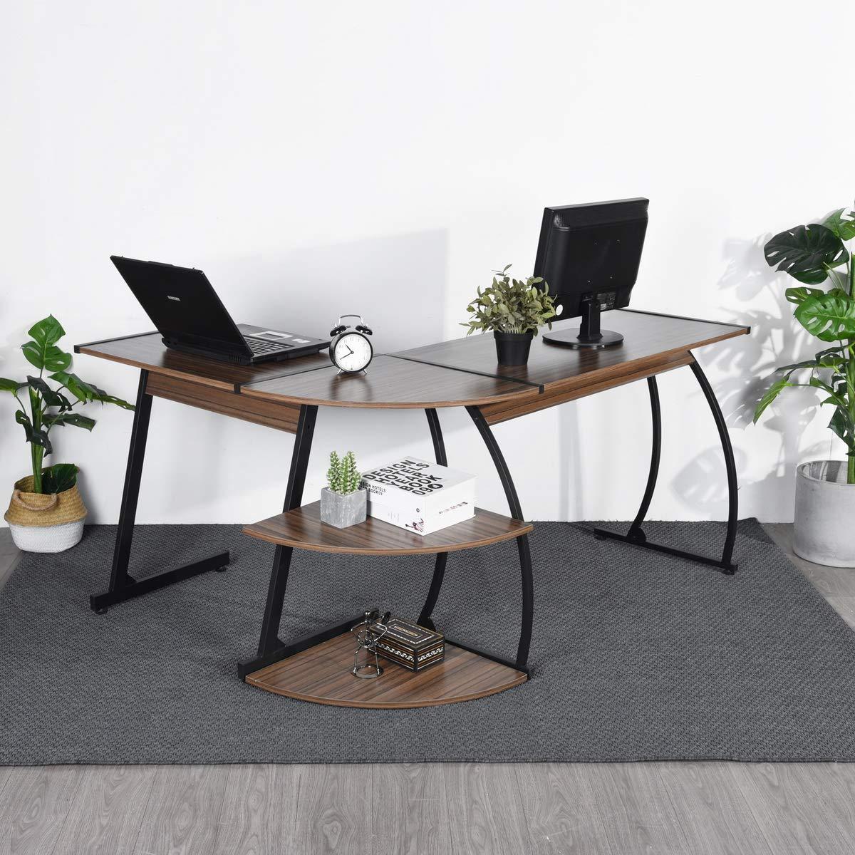 Computer Desk, FurnitureR Modern L-Shaped Corner PC Workstation Table Home Office Furniture (Walnut)