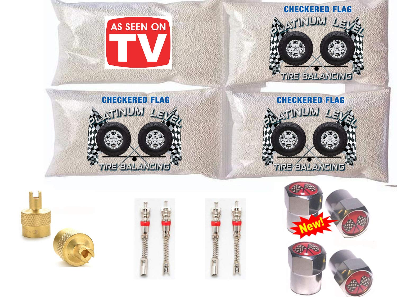 4-12oz Checkered Flag Tire Balance Beads with Zr Compound Tire Balancing Beads, Free Valve Stem Cores & Valve Stem Caps