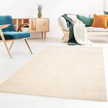Kurzflor Designer Uni Teppich Extra Weich Furs Wohnzimmer Schlafzimmer Esszimmer Oder Kinderzimmer Gala Natur Weiss 200x290 Cm