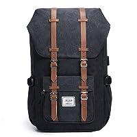 KALIDI Schulru Tasche Laptop Rucksack Canvas Rucksack Lässig Tagesrucksack mit USB Ladeanschluss Rucksack, 50 cm