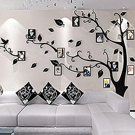Alicemall Vinilos Arbol Hojas Negro Pegatinas de Pared 1.75*2.3 m Murales Pared 3D para Sala de Estar Dormitorio Decorativo Hogar