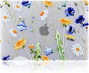iDonzon MacBook Pro 15 inch Case (A1990/A1707, 2020 2019 2018 2017 2016 Release), 3D Effect Matte Clear See Through Hard Cover Compatible Mac Pro 15.4 inch with Touch Bar Touch ID - Floral Pattern