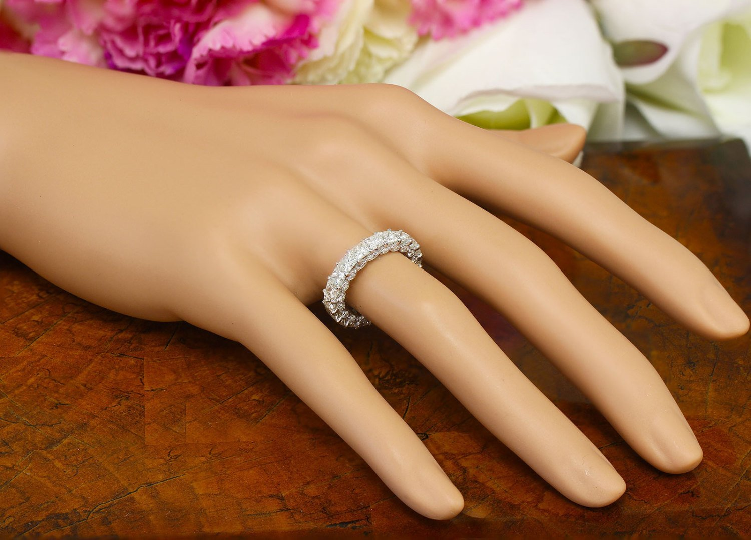 Gift 4.00ctw Bridal Wedding Anniversary Sterling Silver .925 Princess and Round Cut Simulated Diamond Eternity Band Deco Antique