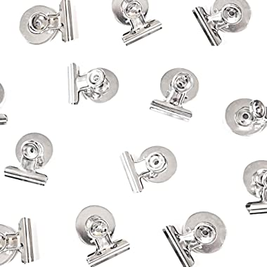 (Upgraded) 12 Strong Scratch-Free Refrigerator Magnet Clips for Organizing, Decorating and All of Life's Needs - Bonus Magnetic Notepad