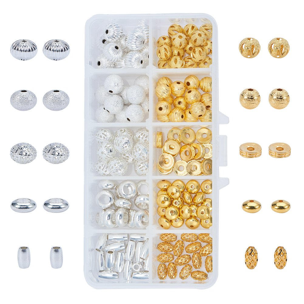 PH PandaHall 1 Box 140 PCS 10 Style Silver Golden Brass Bead Spacers Jewelry Findings Accessories for Bracelet Necklace Jewelry Making wh-KK-PH0034-39