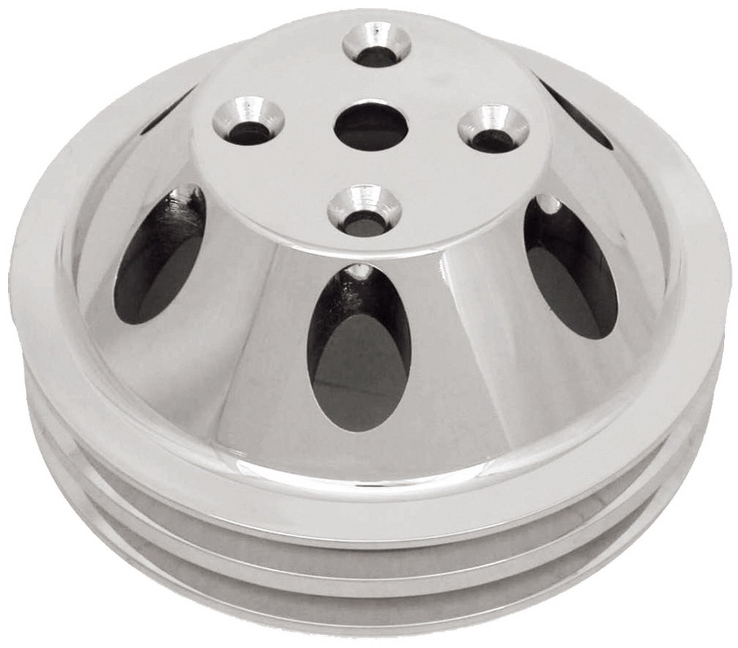 CSI C9483 Polished Aluminum Water Pump Pulley, Double Groove Long Water Pump, Upper, Chevy Small Block 283-350 Engines