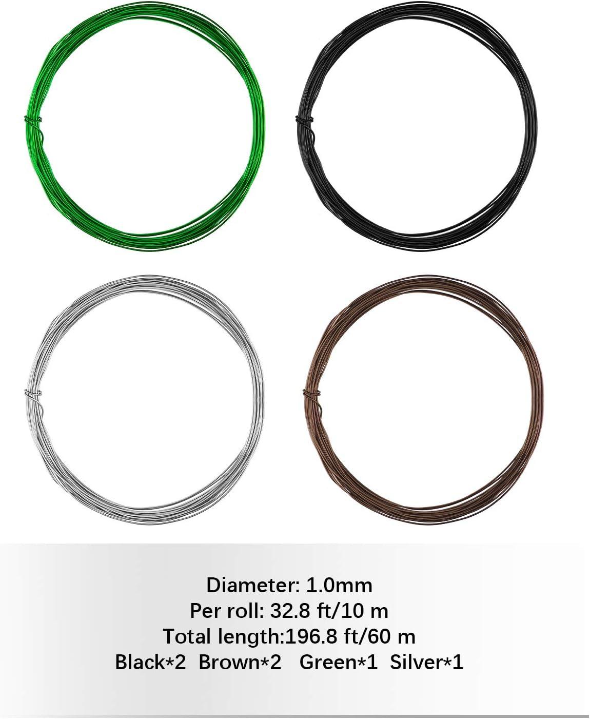 AIEX 1mm 6 Rollen Bonsai-Draht Set insgesamt 196.8 Fu/ß f/ür Bonsai-Baumtraining und Basteln Zangen Schwarz, Braun, Silber, Gr/ün