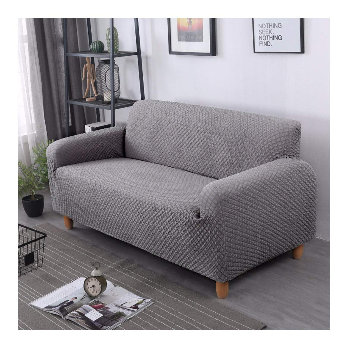 4seat VGUYFUYH Grey Skid-Proof Knitted Square Sofa Cover Polyester Full Package Elasticity Household Universal Sofa Cover Simple Fashion One Set Durable Dustproof Pet Dog Predective Cover,4Seat