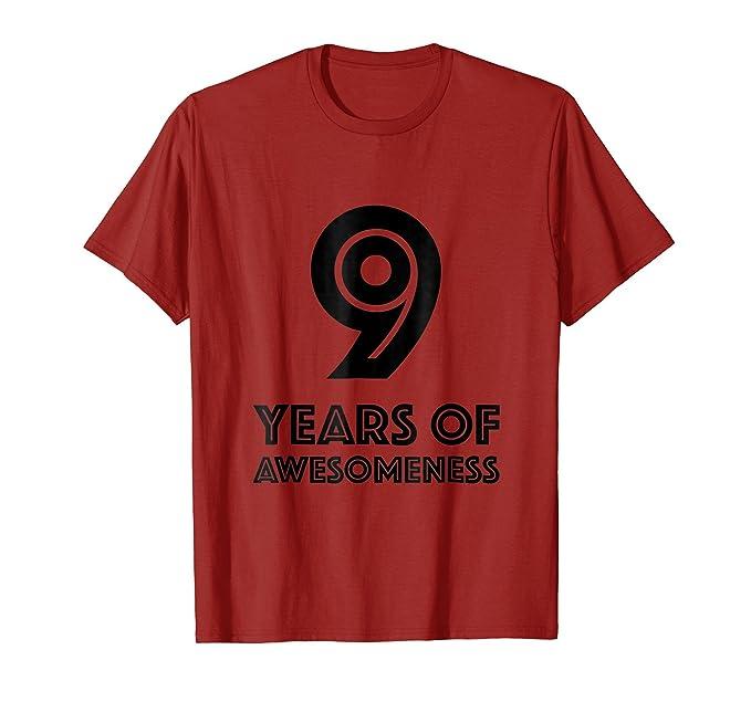 Mens 9th Birthday Shirt Gift Age 9 Nine Year Old Boy Girl Tshirt 2XL Cranberry