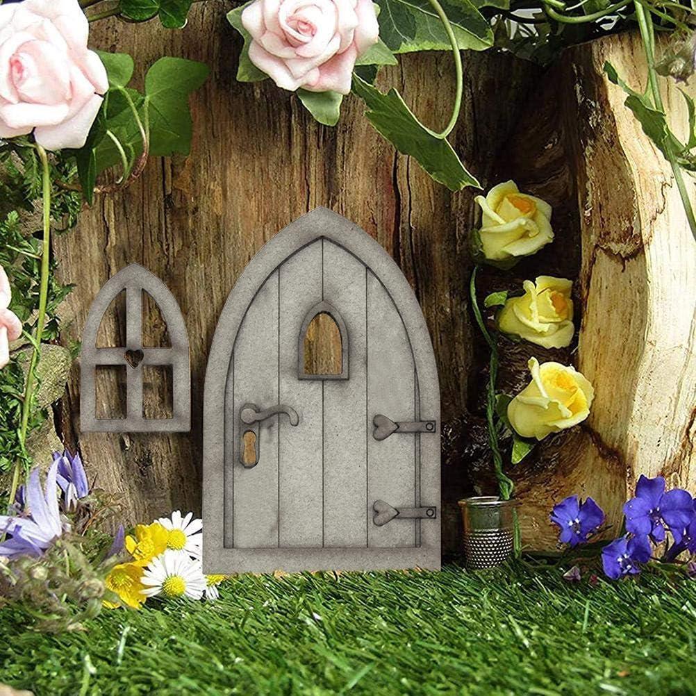 Oyria Puerta de gnomo de Madera 3D Puerta de Hadas Puerta de rat/ón Puerta de Madera Elf Puerta de decoraci/ón de casa de Juegos Puerta para autoensamblaje Juego de Puerta de gnomo Decoraci/ón de jard/ín